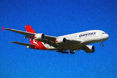 Christmas Cards - Qantas Airbus A380 Art             2 by David Pyatt