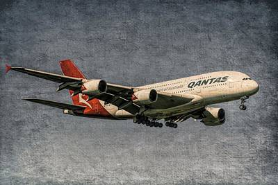 Christmas Cards - Qantas Airbus A380 Metal by David Pyatt