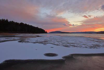 David Bowie Royalty Free Images - Quabbin Reservoir Sunset Ice Royalty-Free Image by John Burk
