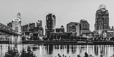Basketball Patents Royalty Free Images - Queen City Skyline Panorama in Black and White Royalty-Free Image by Gregory Ballos