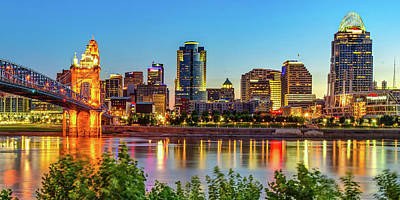 Basketball Patents Royalty Free Images - Queen City Skyline Panorama Over the Ohio River Royalty-Free Image by Gregory Ballos