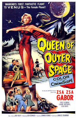 Mixed Media Royalty Free Images - Queen of Outer Space movie poster 1958 Royalty-Free Image by Stars on Art