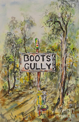 Painting - Quirky Australiana, Boots Gully, One of Pair by Ryn Shell