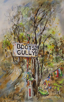 Painting - Quirky Australiana, Boots Gully, Two of Pair by Ryn Shell