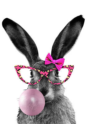 Surrealism Digital Art - Rabbit with bubble gum and pink glasses by Mihaela Pater