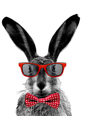 Surrealism Digital Art - Rabbit with red glasses by Mihaela Pater