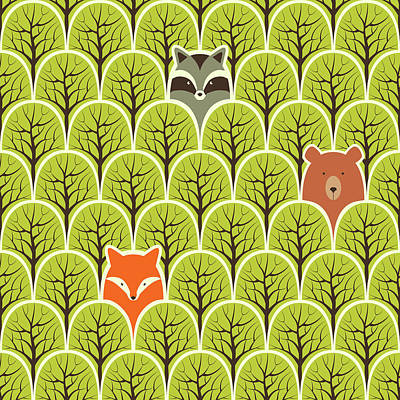 Royalty-Free and Rights-Managed Images - Raccoon fox and bear in a forest seamless pattern by Julien