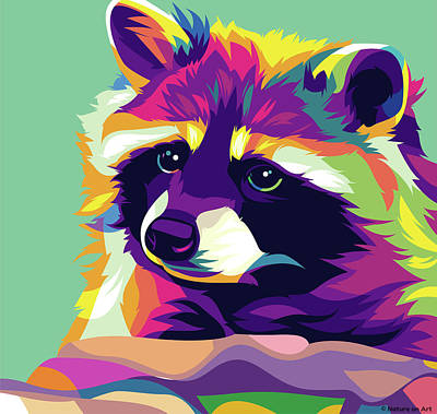 Royalty-Free and Rights-Managed Images - Raccoon by Stars on Art