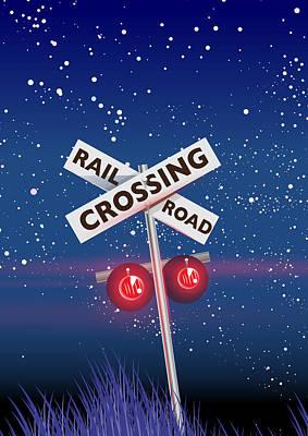 Digital Art - Rail road crossing by David Greenaway
