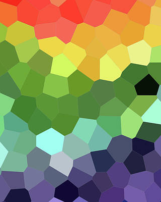Royalty-Free and Rights-Managed Images - Rainbow Mosaic Stained Glass Blocks Decor II by Irina Sztukowski
