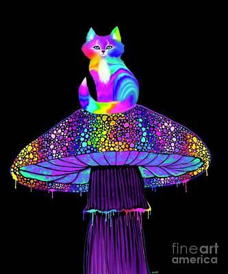 Popstar And Musician Paintings - Rainbow Mushroom Kitty  by Nick Gustafson