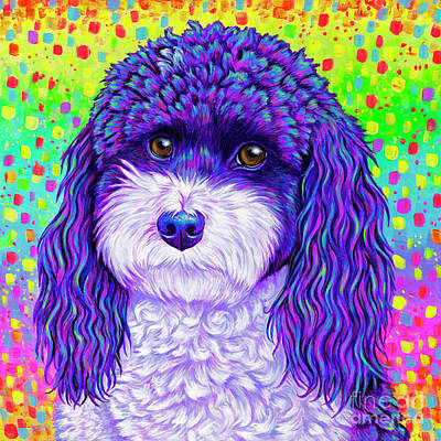 Painting - Rainbow Parti Poodle by Rebecca Wang