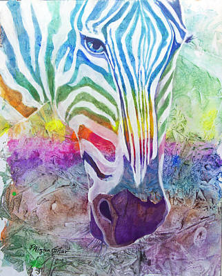 Recently Sold - Animals Royalty-Free and Rights-Managed Images - Rainbow Zebra by Patricia Allingham Carlson
