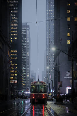 Photograph - Rainy Night And A Streetcar In Downtown by Farzad Frames