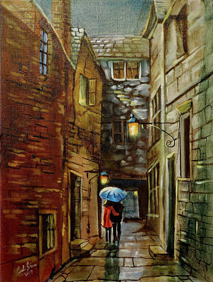 Painting - Rainy Street Painting Back Wynd by Gordon Bruce