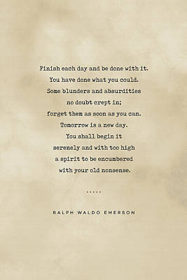 Royalty-Free and Rights-Managed Images - Ralph Waldo Emerson Quote 01 - Typewriter quote on Old Paper - Literary Poster - Book Lover Gifts by Studio Grafiikka