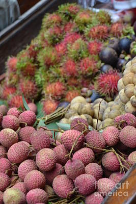Comedian Drawings Rights Managed Images - Rambutan and Other Fruit on Floating Market at Damnoen Saduak Thailand Royalty-Free Image by Heather Kirk and Abundant Eight Creative