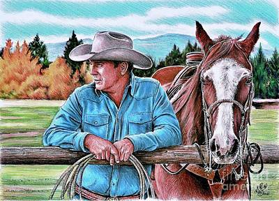 Animals Drawings - Ranching by Andrew Read