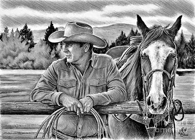 Animals Drawings - Ranching bw ver by Andrew Read