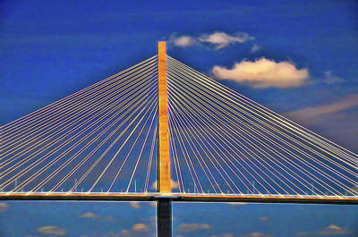 Israeli Flag - Ravenel Bridge  3 - Charleston by Allen Beatty