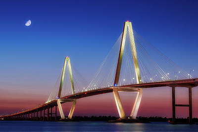Royalty-Free and Rights-Managed Images - Ravenel Bridge at Night by Jon Glaser