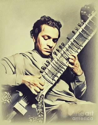 Music Paintings - Ravi Shankar, Music Legend by John Springfield