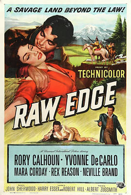 Mixed Media Royalty Free Images - Raw Edge movie poster 1956 Royalty-Free Image by Stars on Art