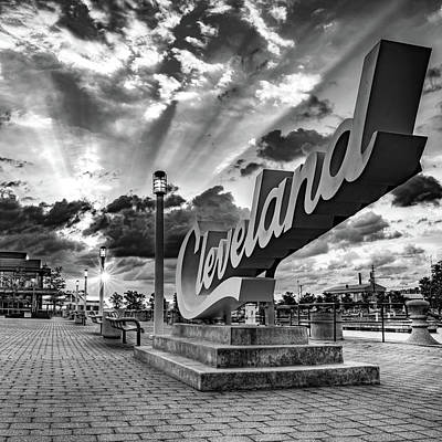 Abstract Stripe Patterns - Rays of Light Over The Cleveland Script Sign on North Coast Harbor - Black and White by Gregory Ballos