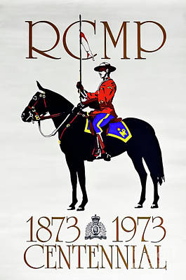 Drawings Royalty Free Images - RCMP Musical Ride Centennial Poster 1973 Royalty-Free Image by Rcmp