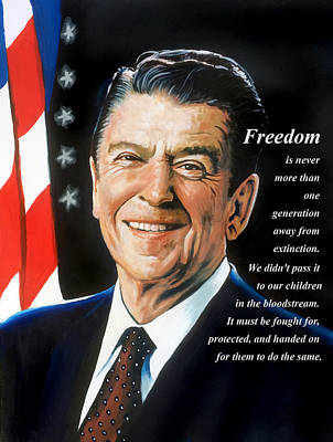 Painting - Reagan - FREEDOM by Robert Korhonen