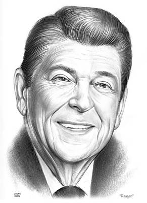 Drawings Royalty Free Images - Reagan - Pencil Royalty-Free Image by Greg Joens