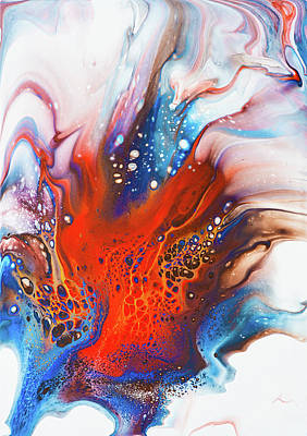 Sean - Red and Blue Abstract Acrylic Pour Painting Dutch Pour by Matthias Hauser