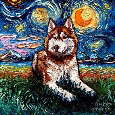 Painting - Red and White Husky Night by Aja Trier