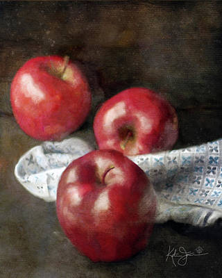 Still Life Royalty-Free and Rights-Managed Images - Red Apples  by Katrina Jones
