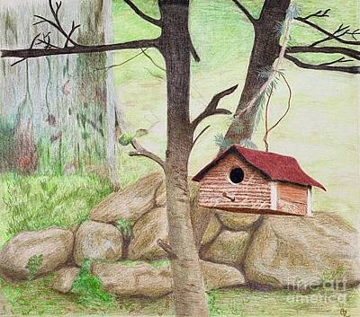 Animals Drawings - Red Bird House by Glenda Zuckerman