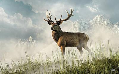 Animals Digital Art - Red Deer by Daniel Eskridge