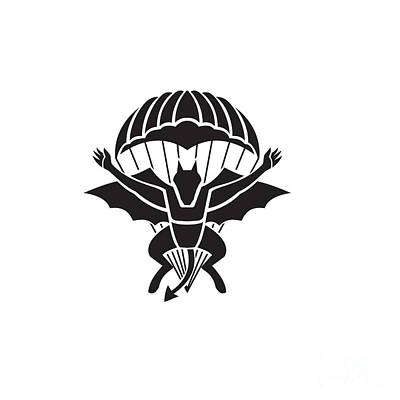 Rabbit Marcus The Great - Red Devils Parachute Regiment Free Fall Team Showing a Demon Devil or Bat with Parachute Jumping Front View Military Badge Black and White by Aloysius Patrimonio
