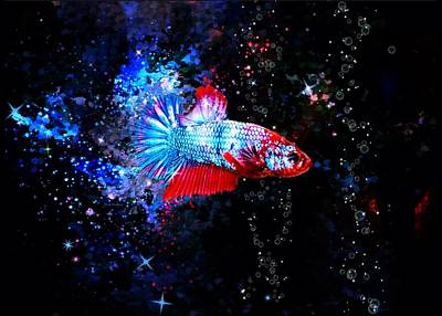 Animals Digital Art - Red Diamond Spade Tail Betta Fish by Scott Wallace Digital Designs