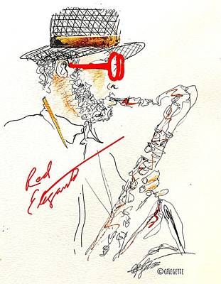 Musicians Drawings Rights Managed Images - Red Elegant Sax Royalty-Free Image by C F Legette