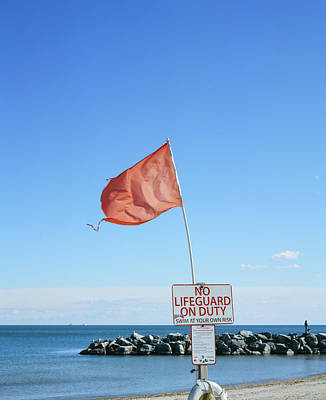 Photograph - Red Flag Flapping on Lake Michigan by Vincent Buckley
