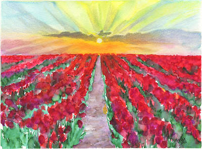 Abstract Oil Paintings Color Pattern And Texture - Red-flowered Field at Sunrise by Taphath Foose