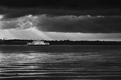 Photograph - Red Funnel Ferry under moody skies by Lenny Carter
