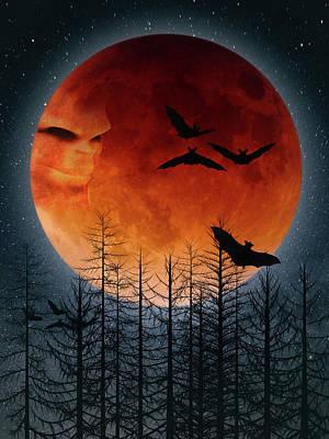 Surrealism Digital Art - Red Halloween moon by Mihaela Pater