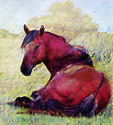 Painting Royalty Free Images - Red Horse Royalty-Free Image by David Derr