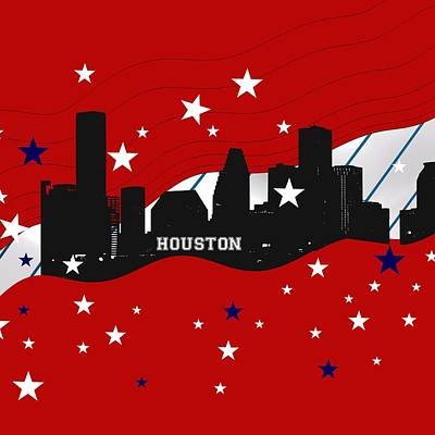 Sports Royalty-Free and Rights-Managed Images - Red Houston Skyline by Alberto RuiZ