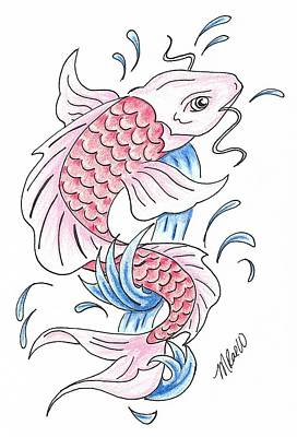 Animals Drawings - Red Koi by Mistina Whitlock