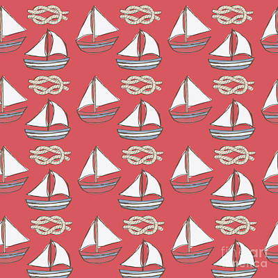 Everett Collection - Red Little Boats Pattern by Amanda Lakey