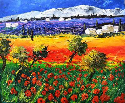 Landscape Photos Chad Dutson - Red poppies and lavender  by Pol Ledent