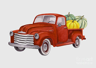 Royalty-Free and Rights-Managed Images - Red Pumpkin Patch Pickup Truck 2 by Hailey E Herrera