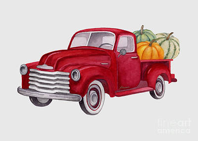 Royalty-Free and Rights-Managed Images - Red Pumpkin Patch Pickup Truck by Hailey E Herrera